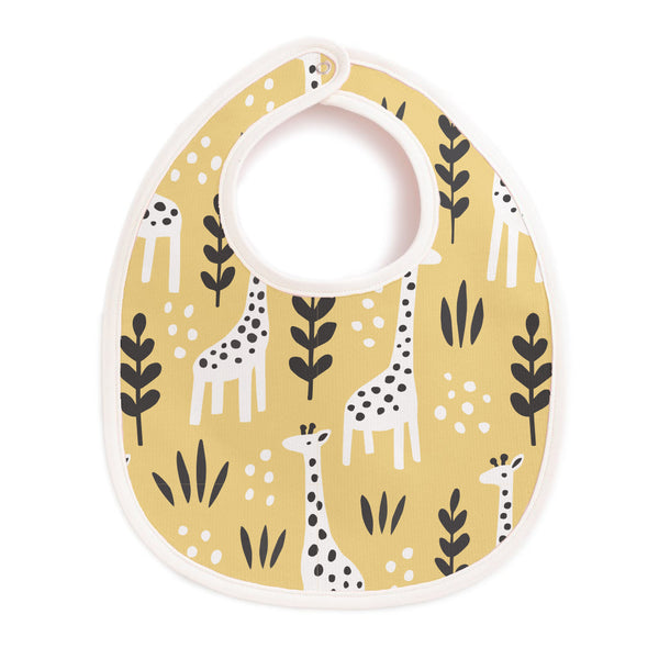 French Terry Bib - Giraffes Pale Yellow
