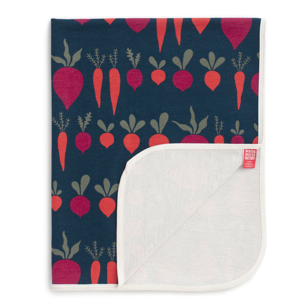 French Terry Blanket - Root Vegetables Night Sky