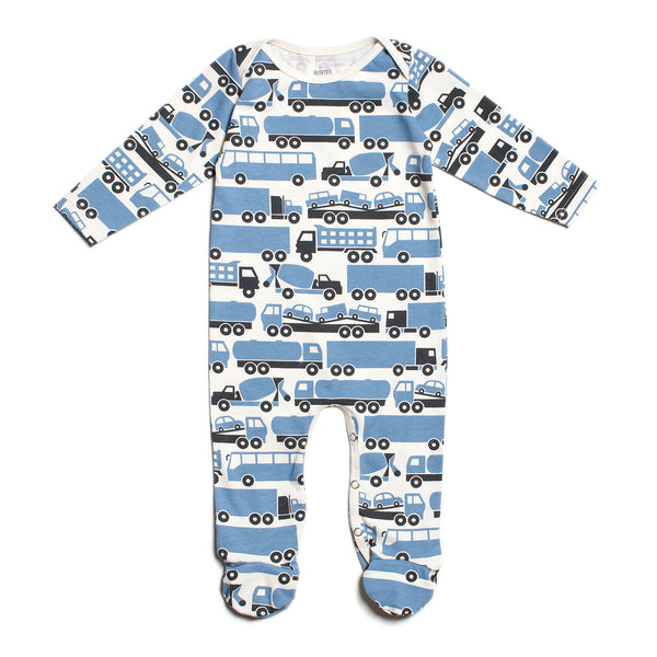 Footed Romper - Big Rigs Blue