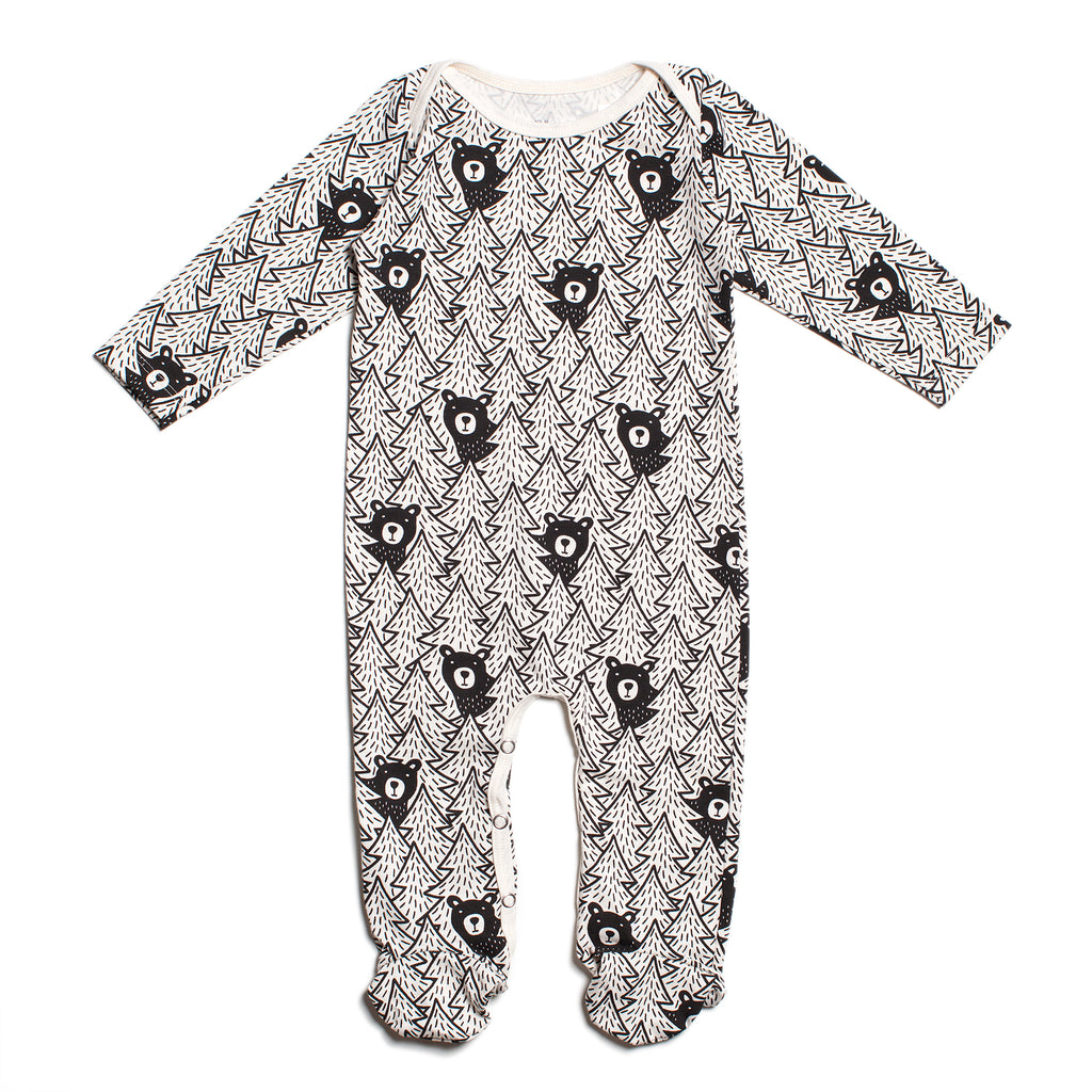 Footed Romper - Bears Black
