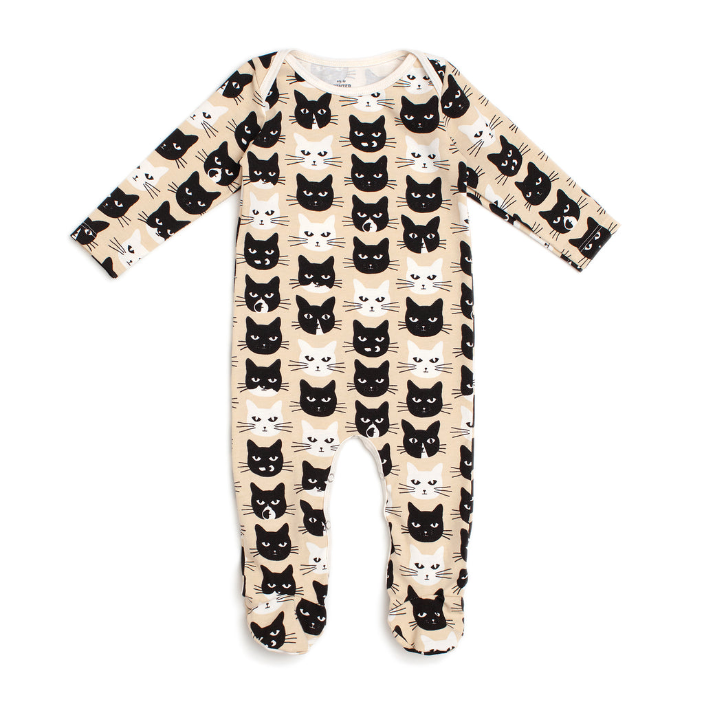 Footed Romper - Cats Beige