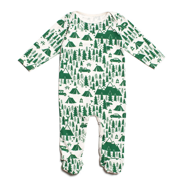 Footed Romper - Campground Green