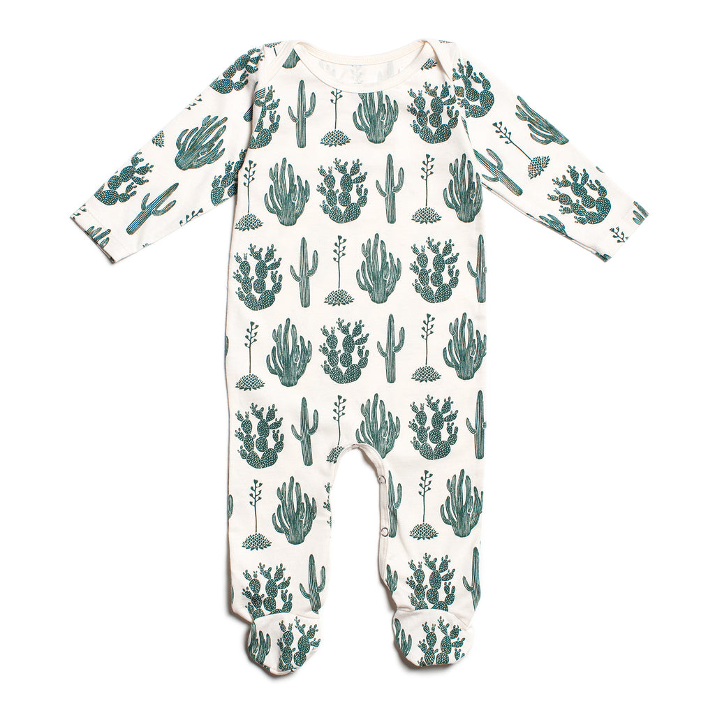 Footed Romper - Cactus Green