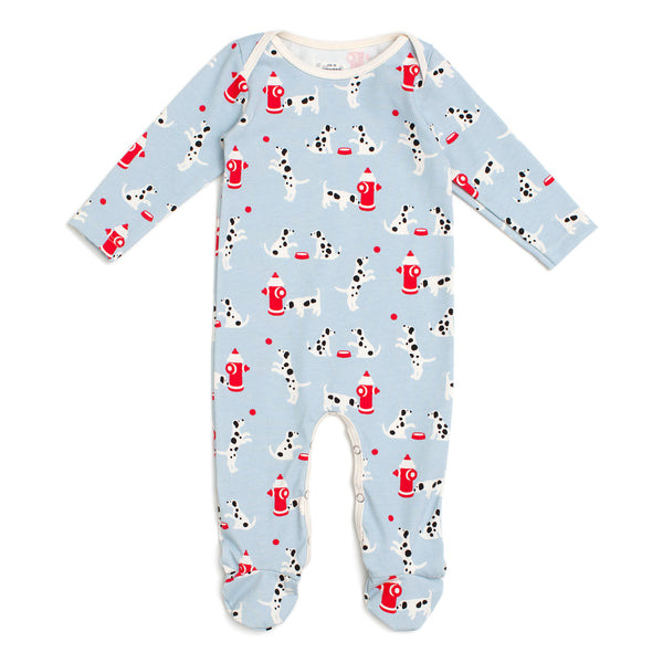 Footed Romper - Dalmatians Blue