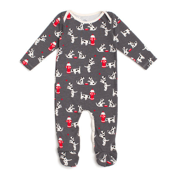 Footed Romper - Dalmatians Charcoal