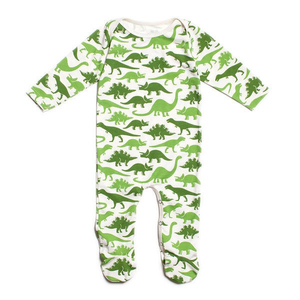 Footed Romper - Dinosaurs Green