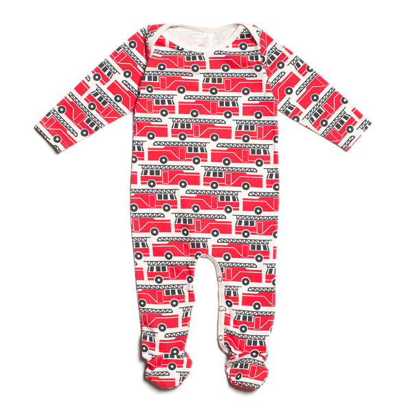 Footed Romper - Firetrucks Red