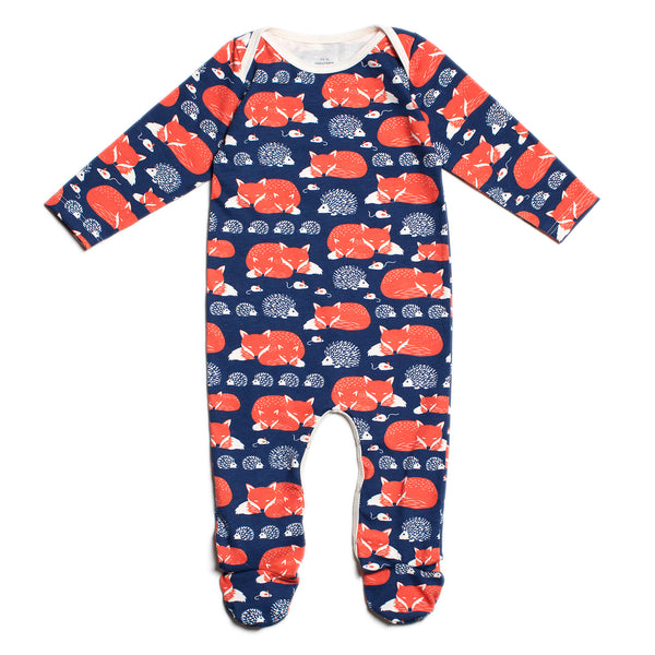 Footed Romper - Foxes & Hedgehogs Navy & Orange