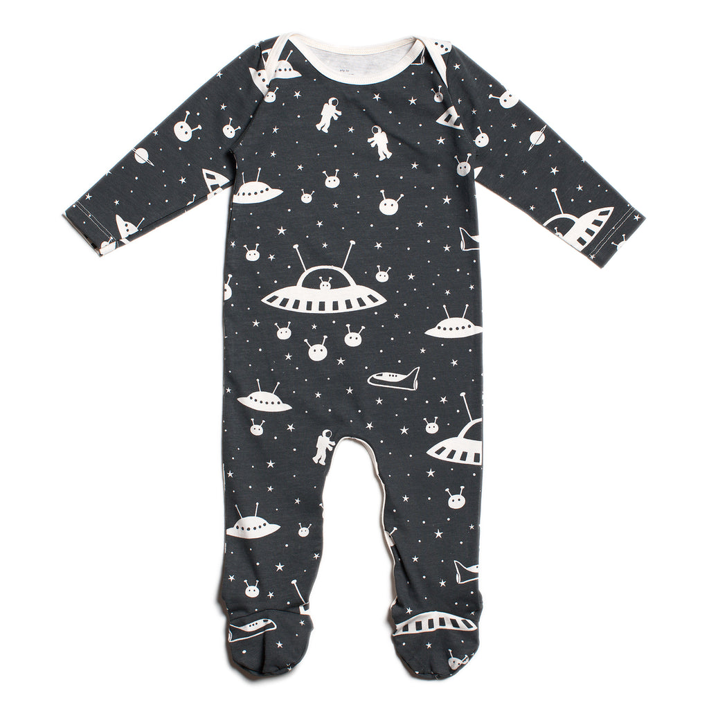 Footed Romper - Outer Space Charcoal