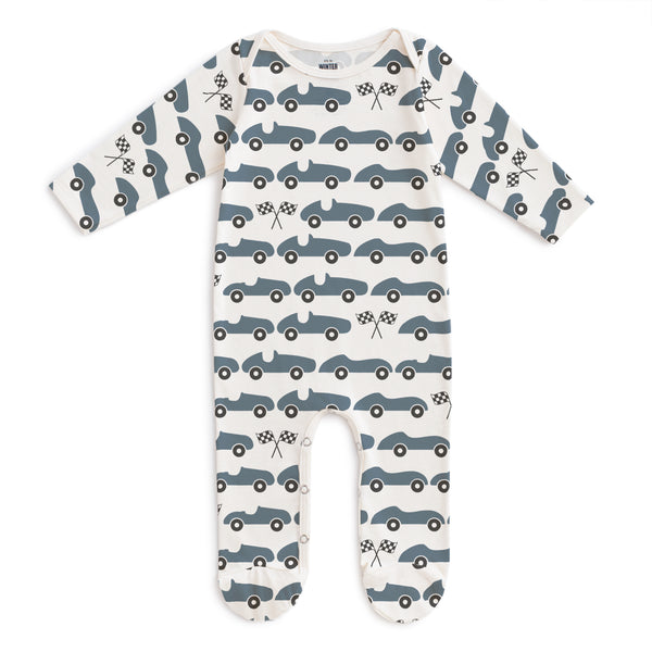 Footed Romper - Race Cars Slate Blue