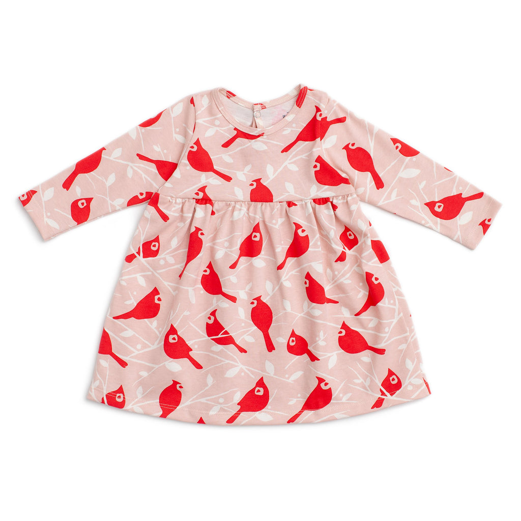 Geneva Baby Dress - Birds In the Trees Red & Pink