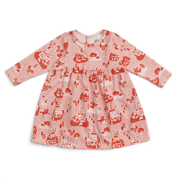 Geneva Baby Dress - Castles & Villages Pink & Orange