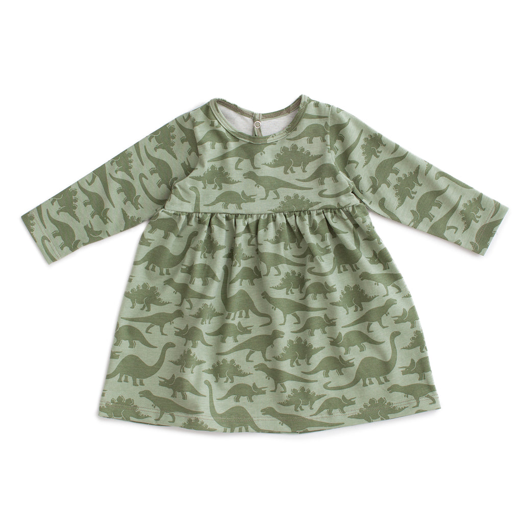 Geneva Baby Dress - Dinosaurs Sage