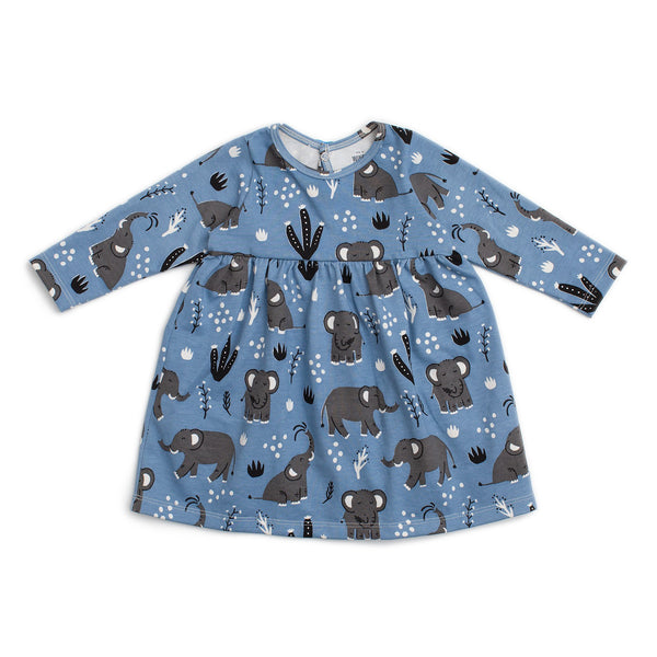 Geneva Baby Dress - Elephants Blue