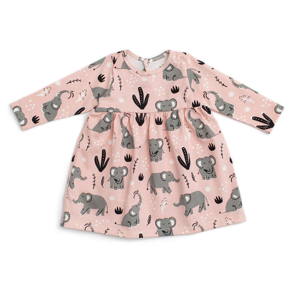 Geneva Baby Dress - Elephants Pink
