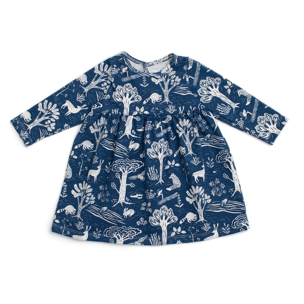 Geneva Baby Dress - In The Forest Navy