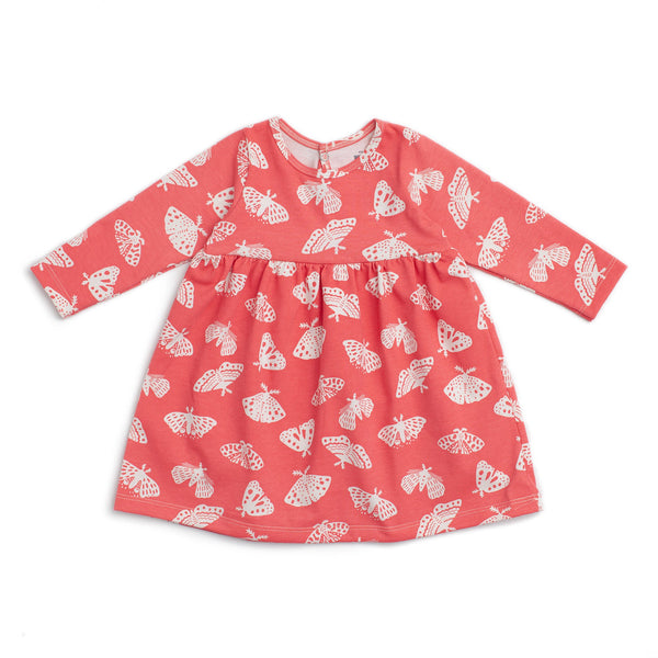 Geneva Baby Dress - Moths Coral