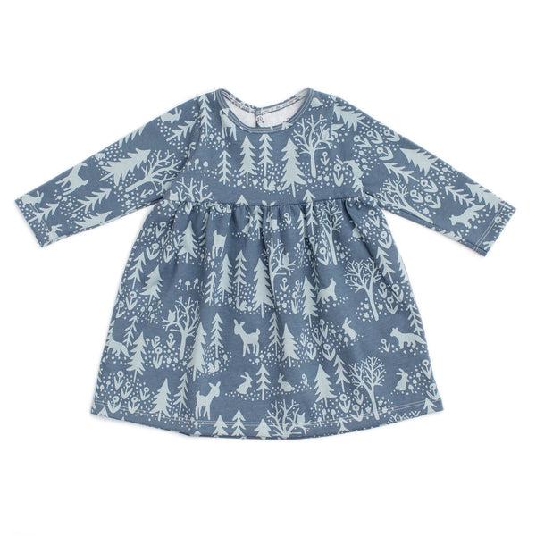 Geneva Baby Dress - Winter Scenic Slate Blue