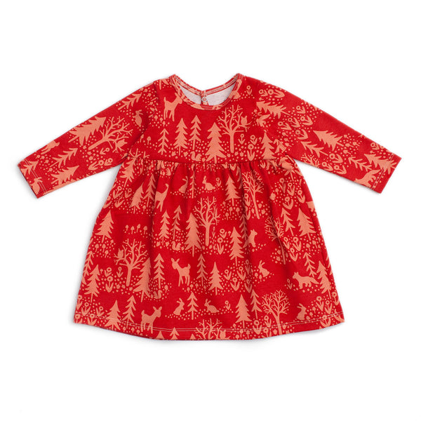 Geneva Baby Dress - Winter Scenic Cranberry