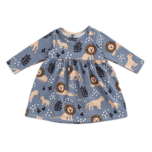 Geneva Baby Dress - Lions Slate Blue