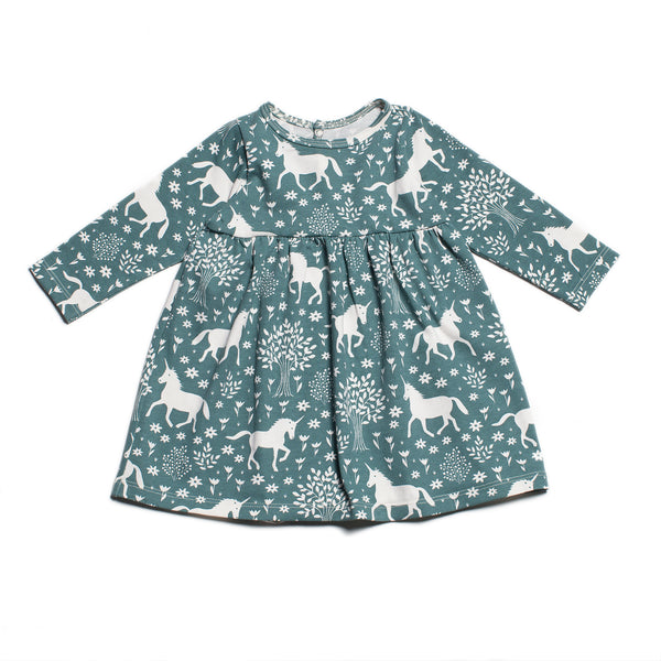Geneva Baby Dress - Magical Forest Teal