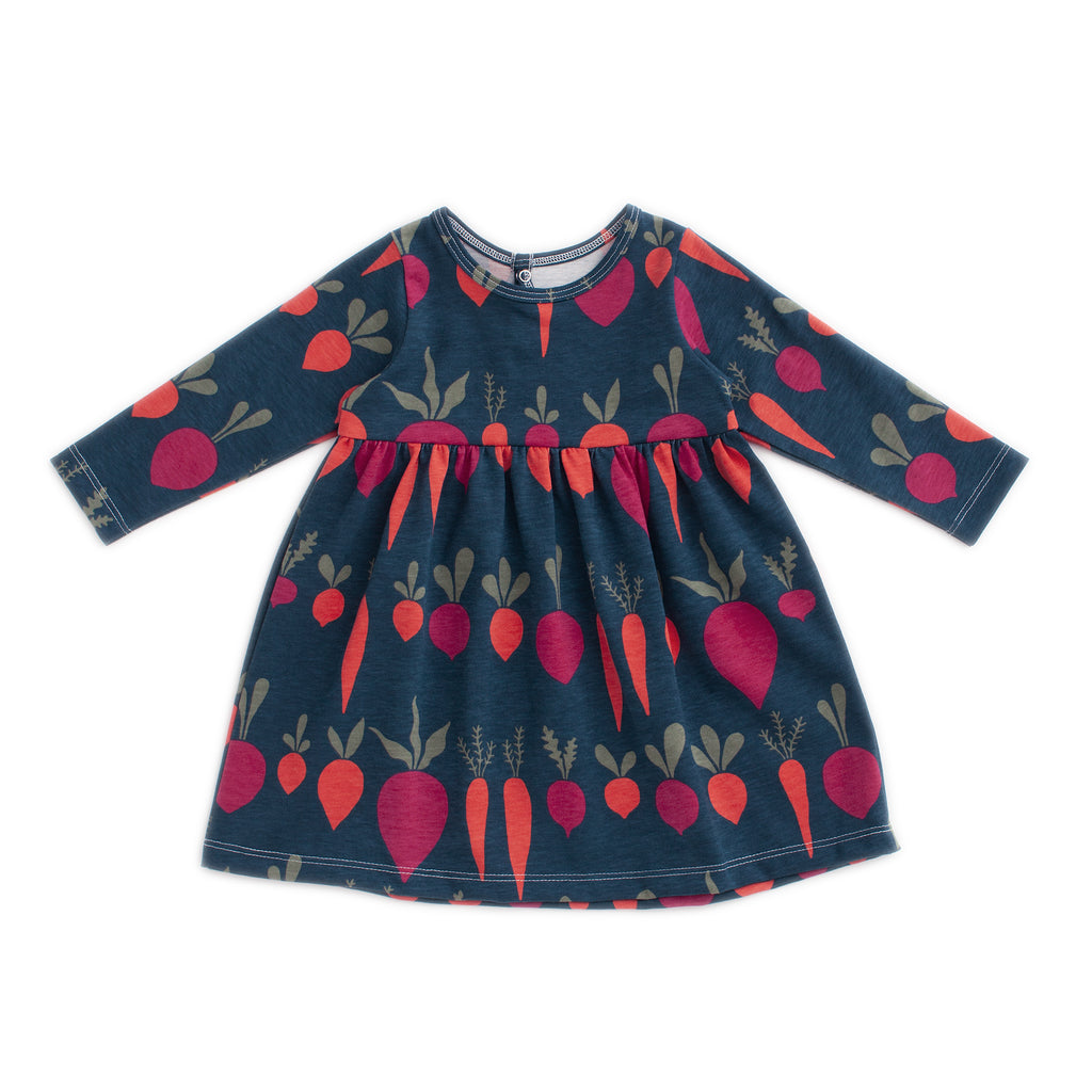 Geneva Baby Dress - Root Vegetables Night Sky