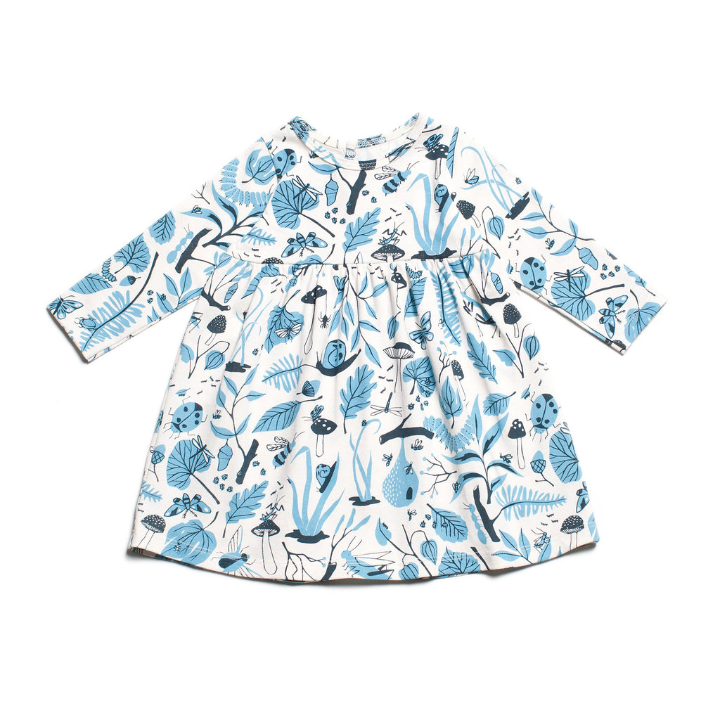 41f2c731333c Geneva Baby Dress - Leaves   Bugs Blue – Winter Water Factory