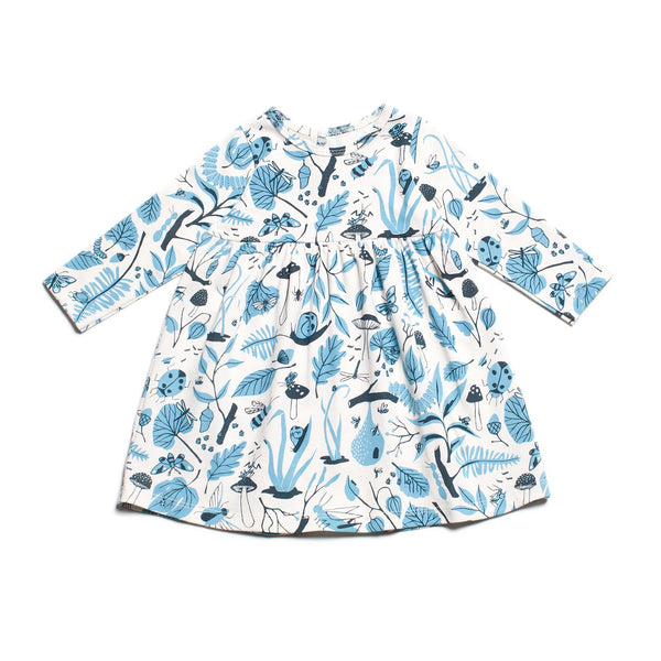 Geneva Baby Dress - Leaves & Bugs Blue