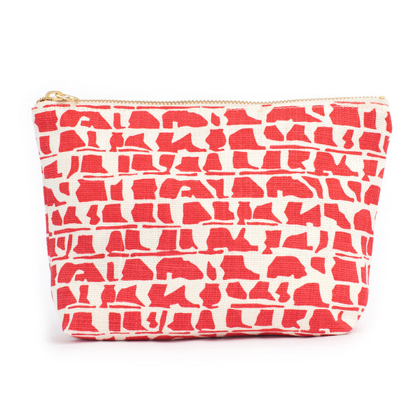 Belgian Linen Gusset Pouch - Corrugated Red