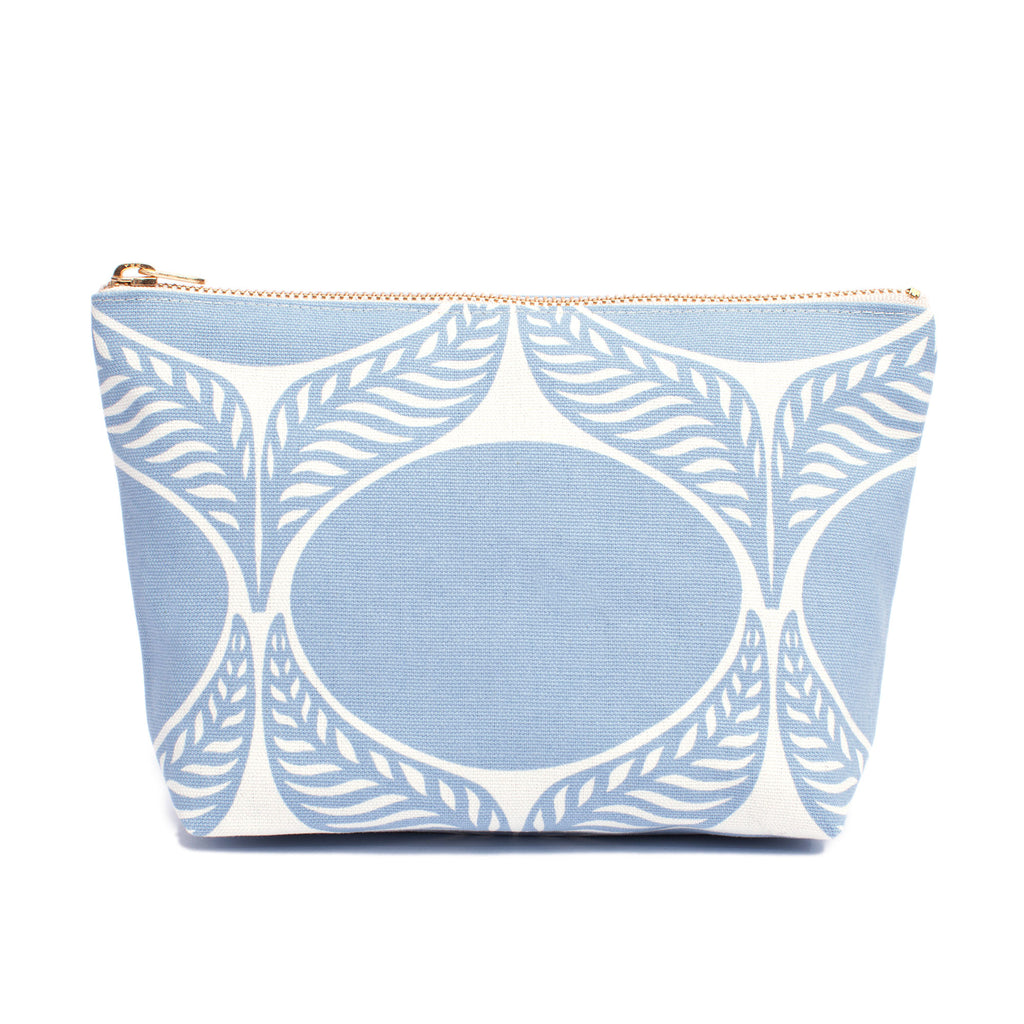 Canvas Gusset Pouch - June Leaf Pale Blue