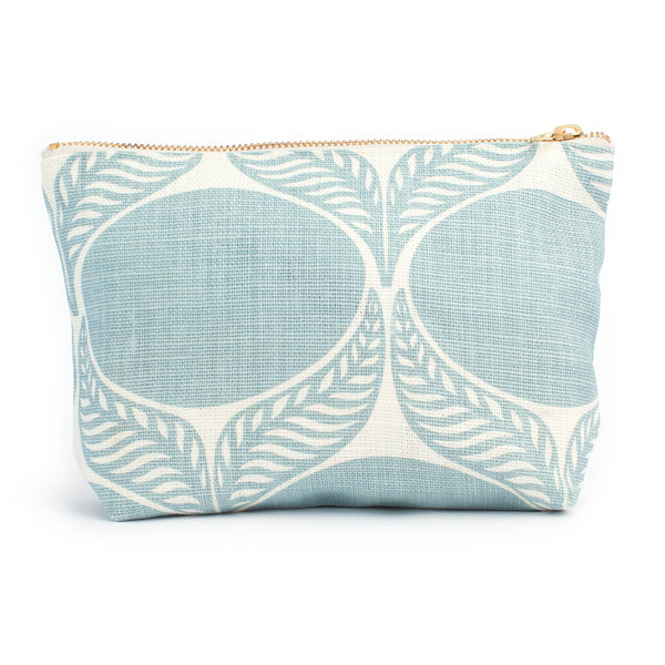 Belgian Linen Gusset Pouch - June Leaf Pale Blue