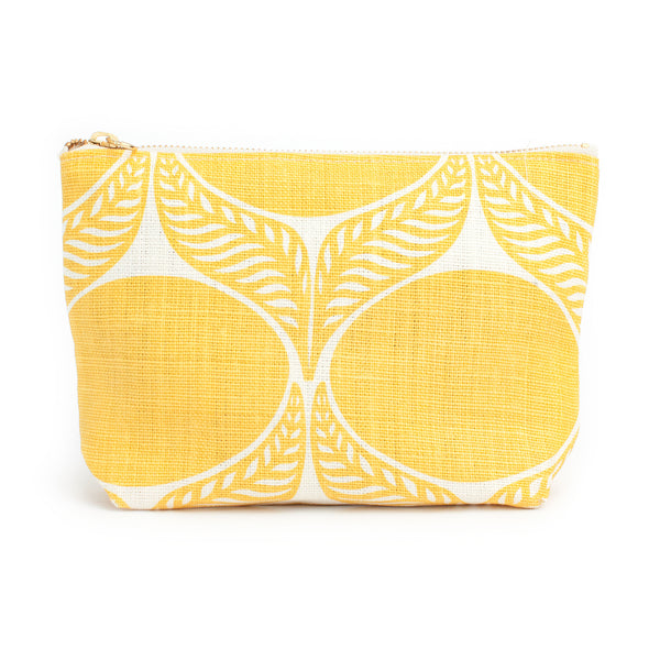 Belgian Linen Gusset Pouch - June Leaf Yellow