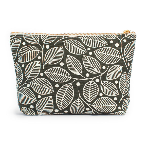 Belgian Linen Gusset Pouch - Leaves & Berries Charcoal