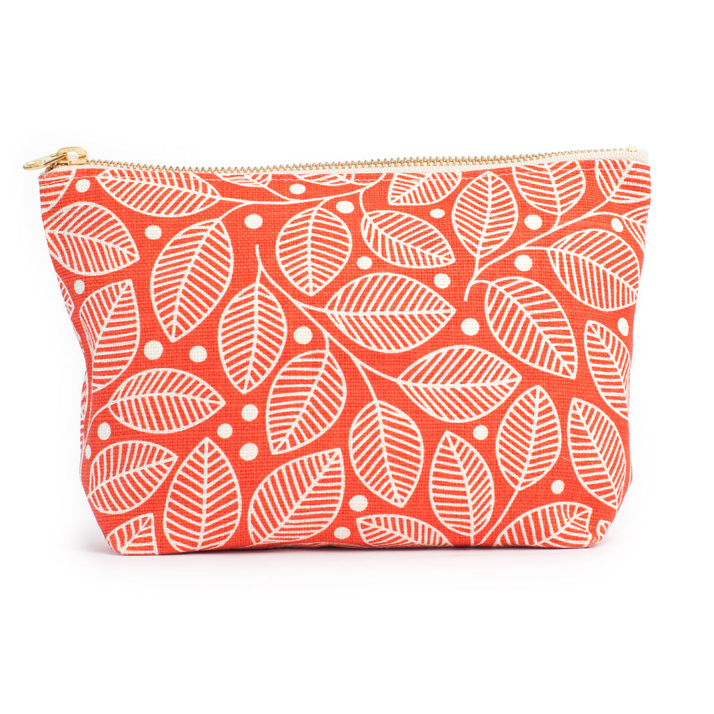 Belgian Linen Gusset Pouch - Leaves & Berries Coral