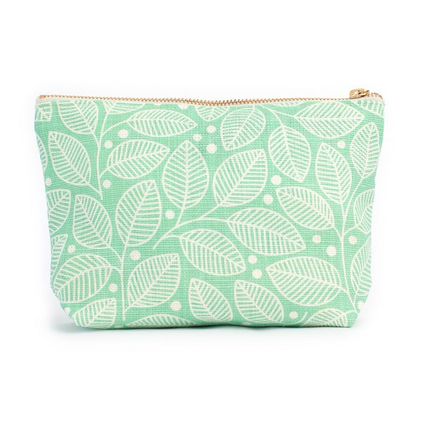 Belgian Linen Gusset Pouch - Leaves & Berries Mint