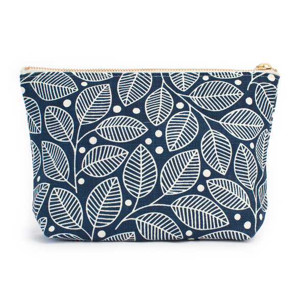 Belgian Linen Gusset Pouch - Leaves & Berries Navy