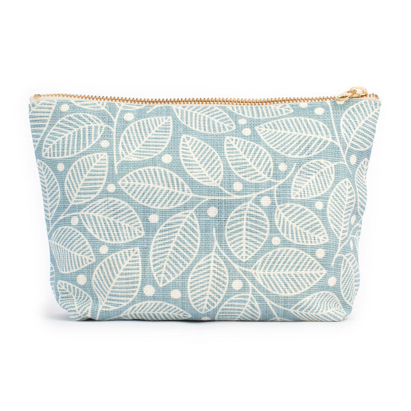 Belgian Linen Gusset Pouch - Leaves & Berries Pale Blue