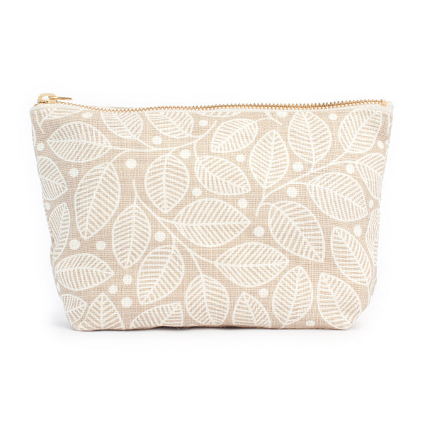 Belgian Linen Gusset Pouch - Leaves & Berries Taupe