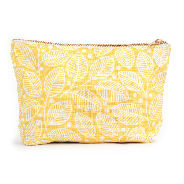 Belgian Linen Gusset Pouch - Leaves & Berries Yellow