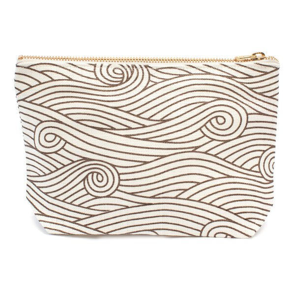 Belgian Linen Gusset Pouch - Ocean Waves Brown