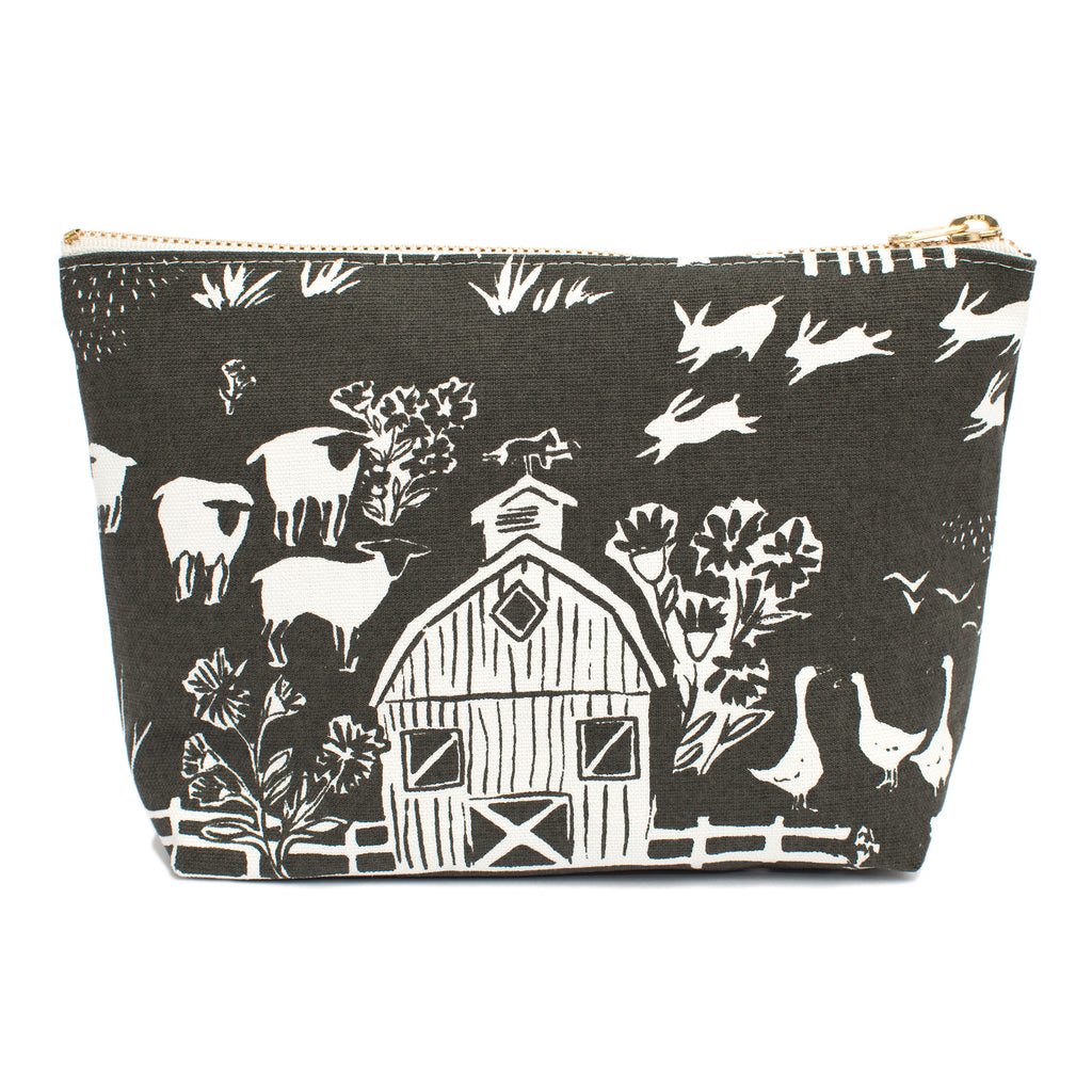 Canvas Gusset Pouch - The Farm Next Door Charcoal