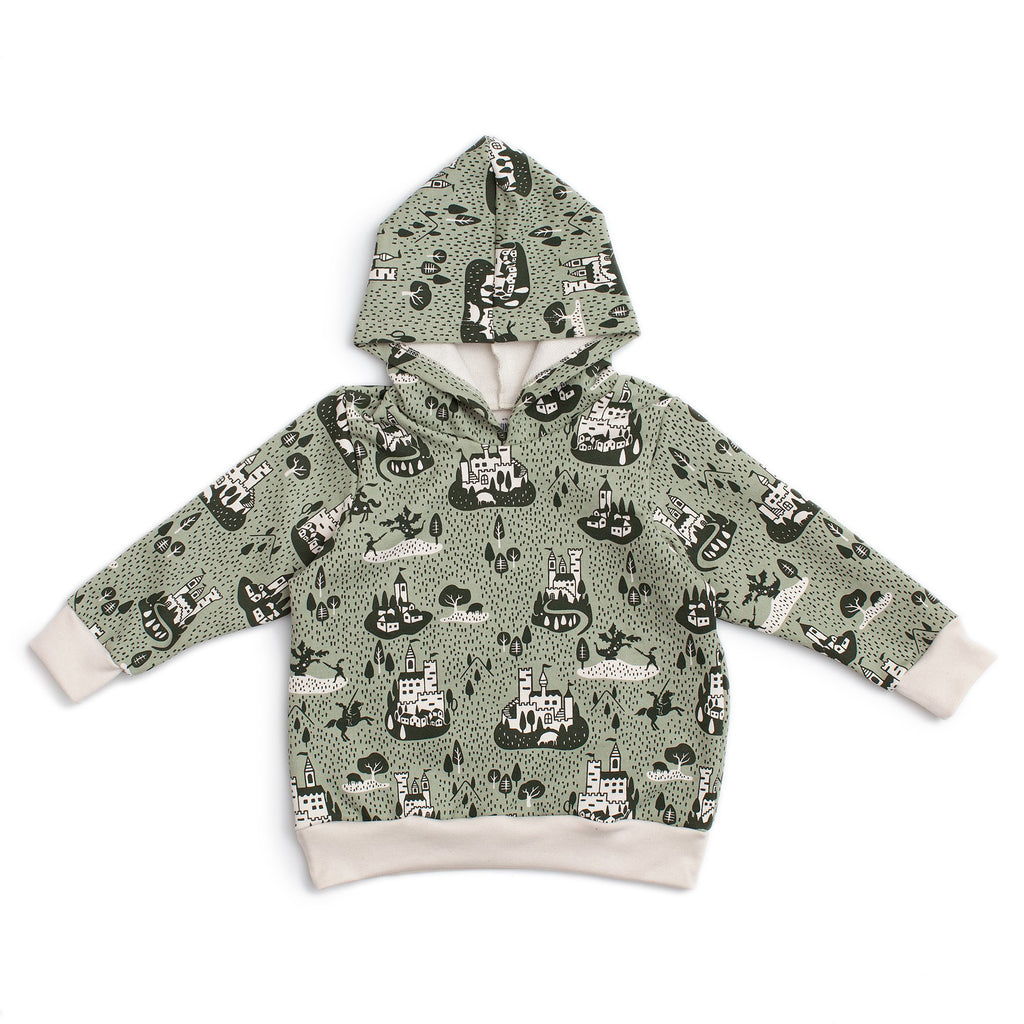 Hoodie - Castles & Villages Sage & Forest Green