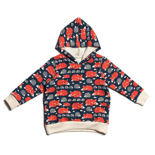 Hoodie - Foxes & Hedgehogs Navy & Orange