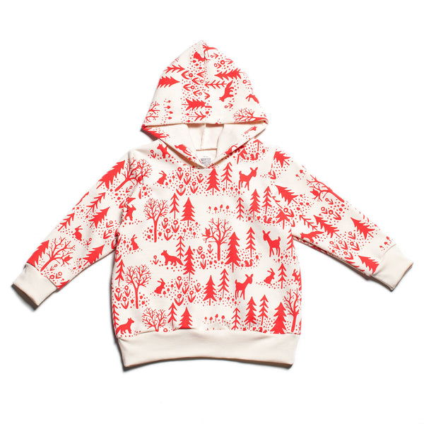Hoodie - Winter Scenic Red