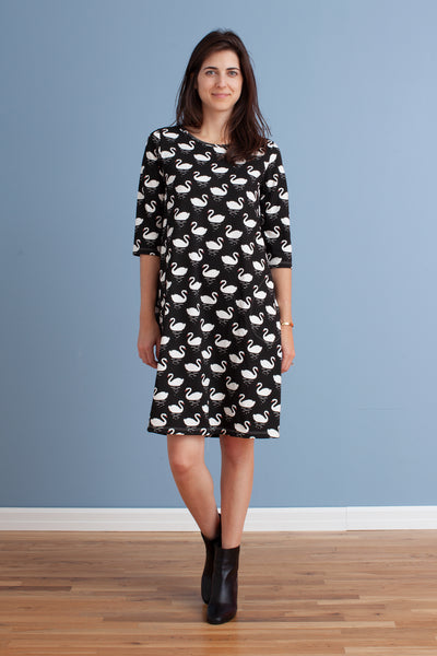 Women's Helsinki Dress - Swans Black