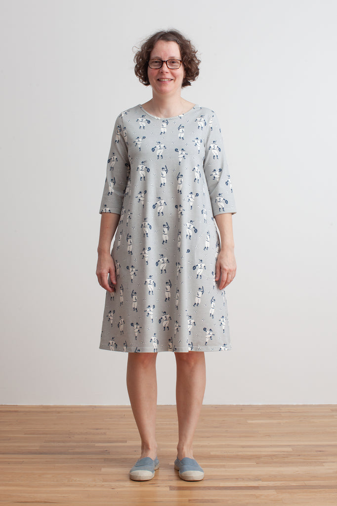 Women's Helsinki Dress - Baseball Grey & Midnight Blue