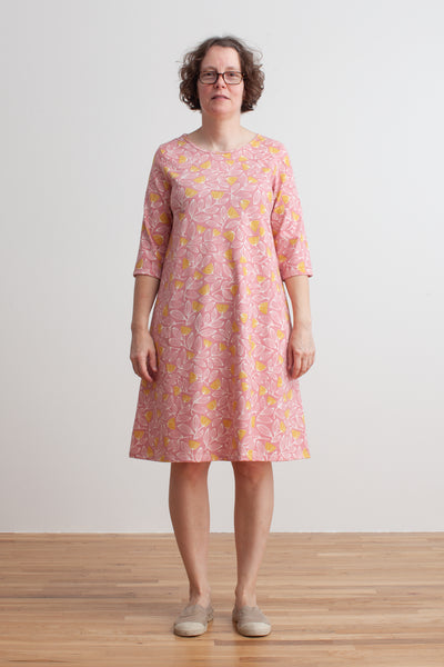 Women's Helsinki Dress - Holland Floral Dusty Pink & Yellow