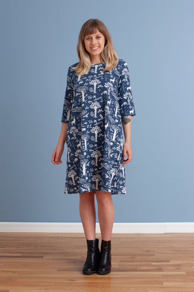 Women's Helsinki Dress - In the Forest Navy