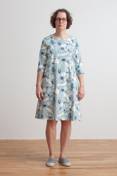 Women's Helsinki Dress - Sea Creatures Pale Blue