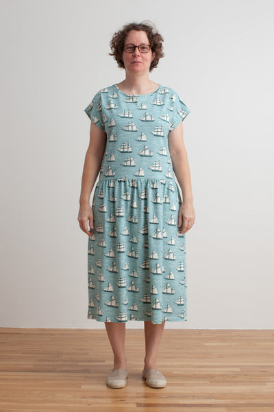 Women's Idaho Dress - Vintage Sailboats Ocean Blue & Teal